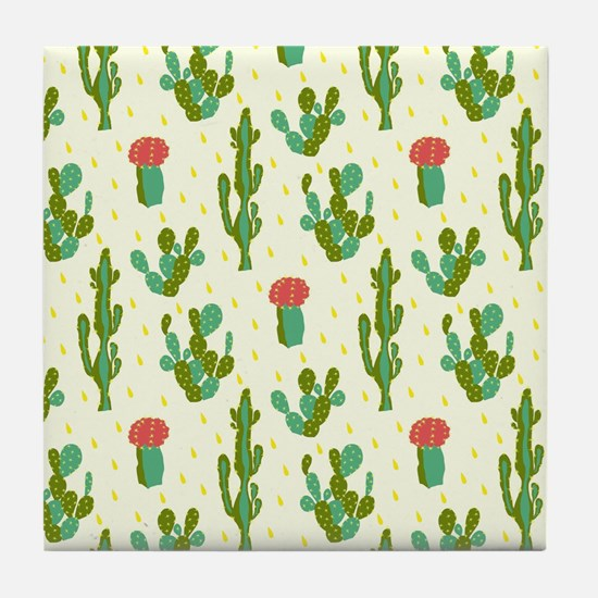 Cactus Pattern Tile Coaster