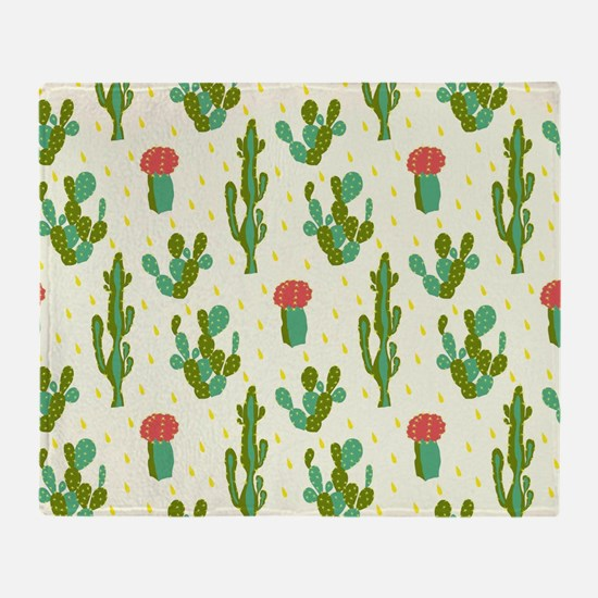 Cactus Pattern Throw Blanket