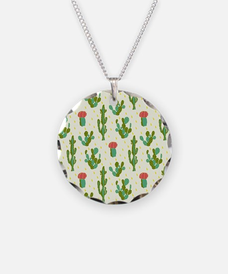 Cactus Pattern Necklace Circle Charm