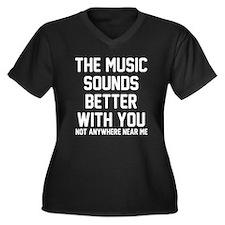 The music so Women's Plus Size V-Neck Dark T-Shirt