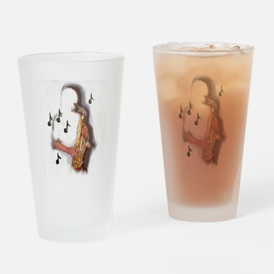 Abstract Saxophone player Drinking Glass