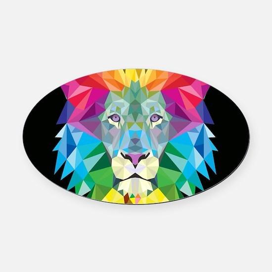 Rainbow Lion Oval Car Magnet
