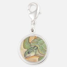 Sea Turtle Kemp's Ridley Silver Round Charm