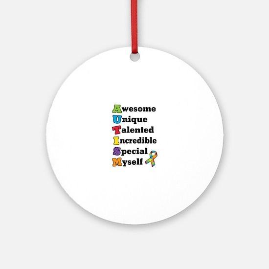 Autism Acronym Round Ornament