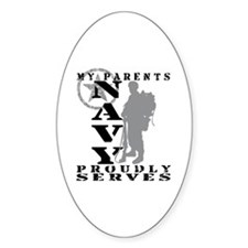 Parents Proudly Serves 2 - NAVY Oval Decal