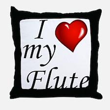 I Love my Flute Throw Pillow