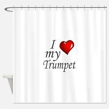 I Love My Trumpet Shower Curtain