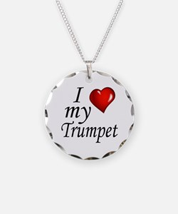 Trumpet 2 Necklace Circle Charm