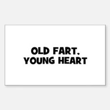 Old Fart, Young Heart Rectangle Decal