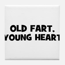 Old Fart, Young Heart Tile Coaster