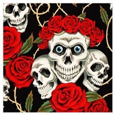 Skulls and Roses Framed Print