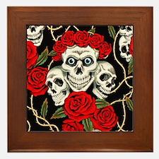 Skulls and Roses Framed Tile