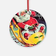 Santa Claus Rocket  Round Ornament