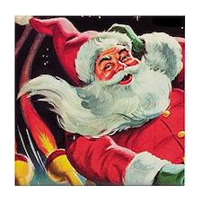 Santa Claus Rocket  Tile Coaster