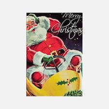 Santa Claus Rocket  Rectangle Magnet