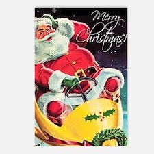 Santa Claus Rocket  Postcards (Package of 8)