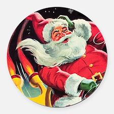 Santa Claus Rocket  Round Car Magnet