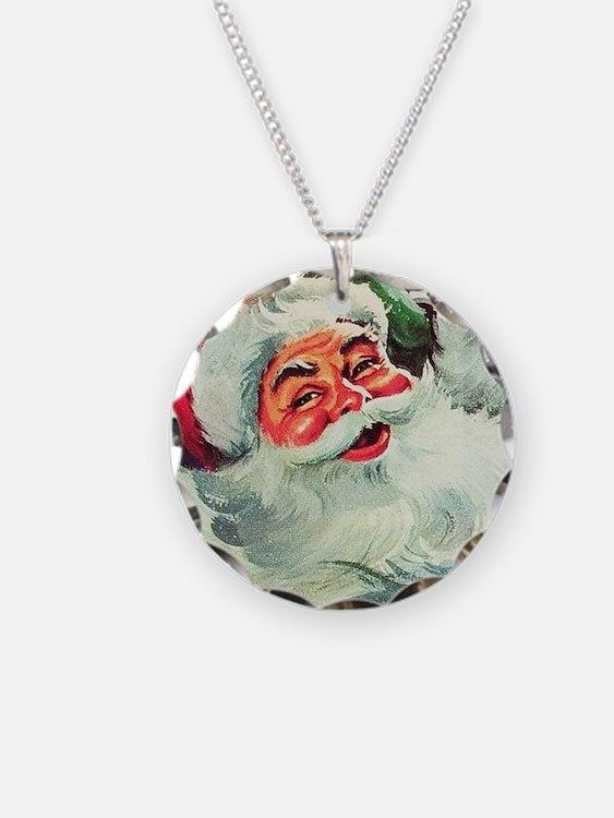 Santa Claus Rocket  Necklace Circle Charm