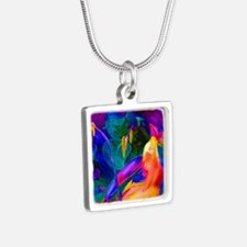 Paradise Bird Vibrant Art Silver Square Necklace