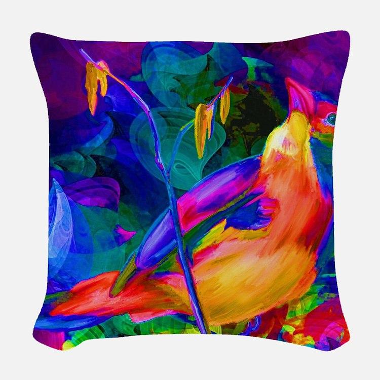 Paradise Bird Vibrant Art Woven Throw Pillow