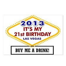 Cute 21st birthday Postcards (Package of 8)