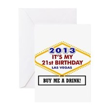 Its My 21st birthday Vegas Greeting Cards
