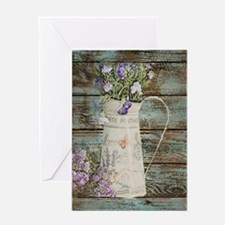 rustic lavender western country Greeting Cards