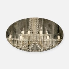 shabby chic rustic chandelier Oval Car Magnet