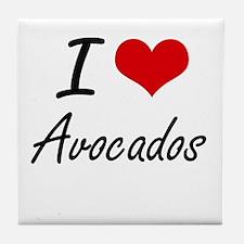 I Love Avocados artistic design Tile Coaster