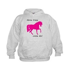 Horse Crazy Little Girl - Pink Hoodie