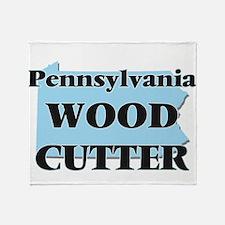Pennsylvania Wood Cutter Throw Blanket