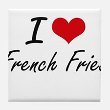 I Love French Fries artistic design Tile Coaster