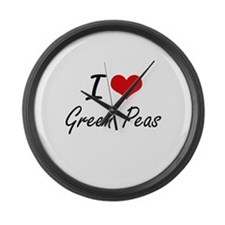 I Love Green Peas artistic design Large Wall Clock