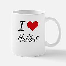 I Love Halibut artistic design Mugs