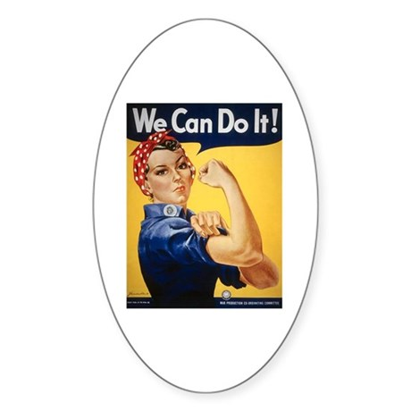 Rosie Riveter We Can Do It Oval Sticker