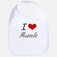 I Love Mussels artistic design Bib