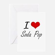 I Love Soda Pop artistic design Greeting Cards