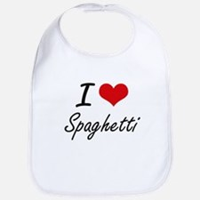 I Love Spaghetti artistic design Bib