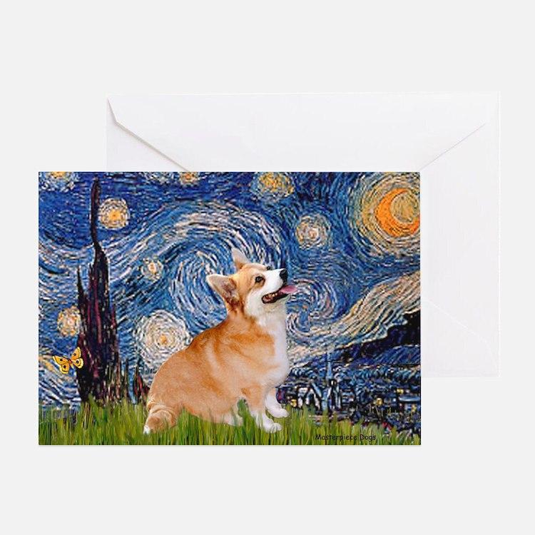 Starry Night Corgi Greeting Card