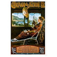 Chicago & Alton Railroad Vintage Travel Poster Poster