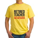 Retired teacher Mens Yellow T-shirts