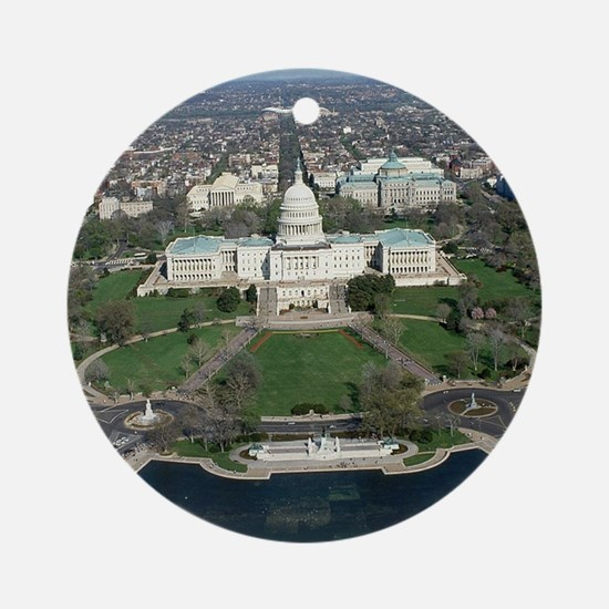 Capitol Hill Aerial Photograph 2 Round Ornament