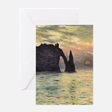 Claude Monet, Cliff Etretat Sunset Greeting Cards