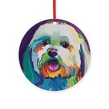 Dash the Pop Art Dog Round Ornament