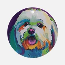 Dash the Pop Art Dog Round Ornament