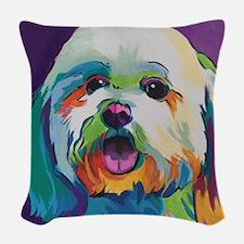 Dash the Pop Art Dog Woven Throw Pillow