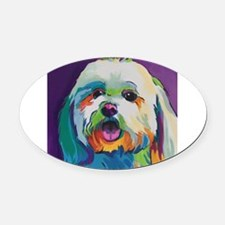 Dash the Pop Art Dog Oval Car Magnet