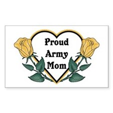 Yellow Rose - Army Mom Rectangle Decal