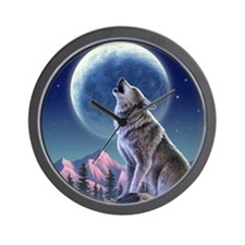 Howling Wolf 1 Wall Clock