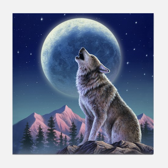 Howling Wolf 1 Tile Coaster